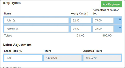 Features - Labor Cost Calculator
